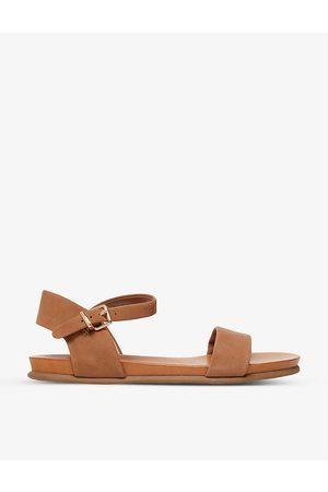 Dune Women Flat Shoes - Londons two-part flat nubuck leather sandals