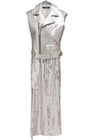 JUNYA WATANABE Women Dresses - Faux Leather & Sequined Georgette Dress