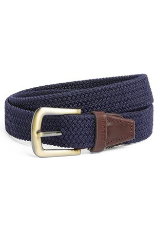 Barbour Leather-Trimmed Woven Belt