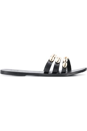 MANEBI Shell trim flat sandals