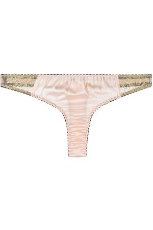 Gilda & Pearl Two-tone lace detail thong - Neutrals