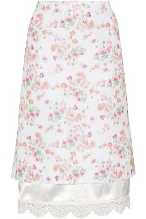 Commission Floral-print layered midi skirt
