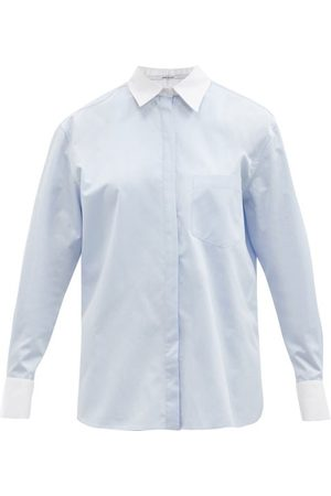 Another Tomorrow Contrast Men's Cotton-poplin Shirt - Womens