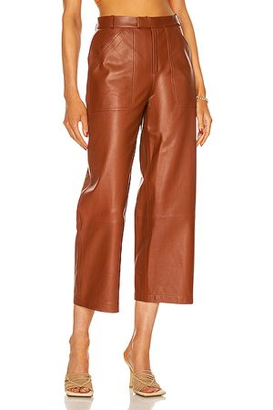 Zeynep Arcay Women Leather Trousers - Culotte Leather Pant in Feral Earth