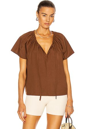 MATTEAU Drawcord Blouse in Pecan