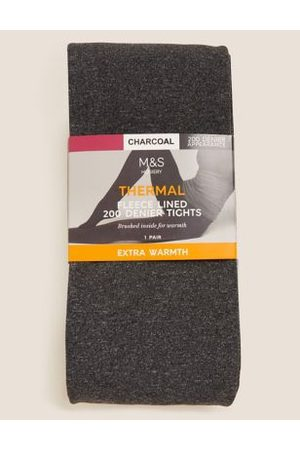 Marks & Spencer Womens 200 Denier Thermal Fleece Lined Tights - , ,Charcoal