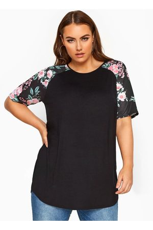 Yours Women Tops - Limited Spun Poly Printed Floral Spun Poly Printed Floral Sleeve V/E Top