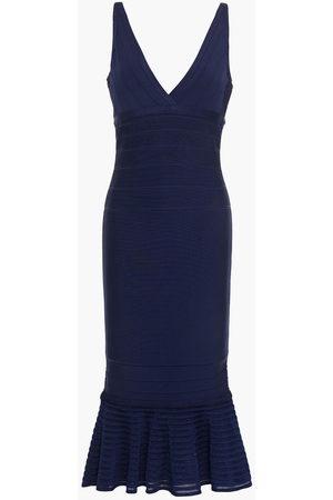 Hervé Léger Women Midi Dresses - Hervé Léger Woman Fluted Bandage Midi Dress Navy Size L