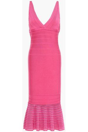 HERVÉ LÉGER Women Midi Dresses - Hervé Léger Woman Fluted Bandage Midi Dress Bubblegum Size L