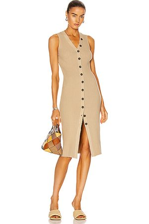 ENZA COSTA Women Sleeveless Dresses - Rib Sweater Knit Sleeveless Cardigan Dress in Dark Clay