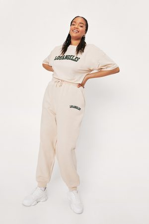 NASTY GAL Womens Plus Size Los Angeles Embroidered Joggers