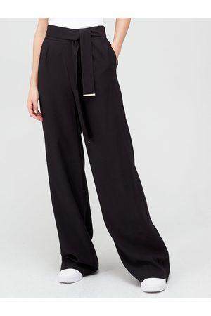 Very Belted Metal Tab Detail Wide Leg Trousers