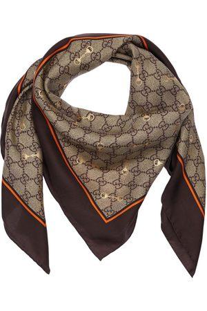 Gucci Gg Print Silk Scarf W/ Horsebit