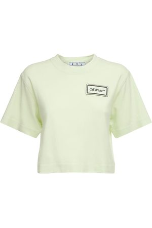 OFF-WHITE Women T-shirts - Logo Patch Crop Jersey T-shirt