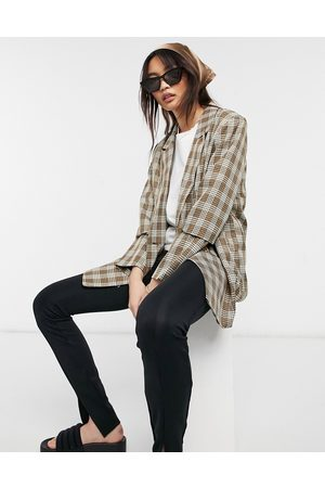 Urban Threads Oversized blazer in brown check-Multi