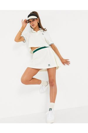 adidas Tennis Luxe' logo pleated skirt in off