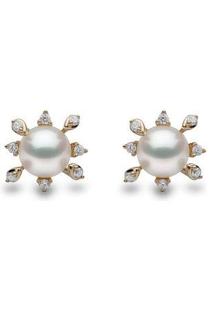 Yoko London 18kt yellow Trend freshwater pearl and diamond stud earrings