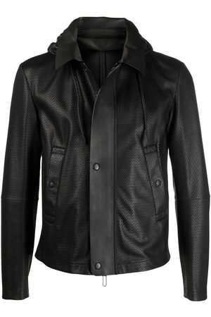 Emporio Armani Hooded leather jacket