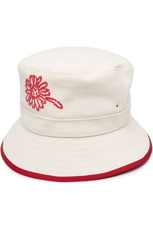RED Valentino Women Hats - Embroidered floral bucket hat - Neutrals