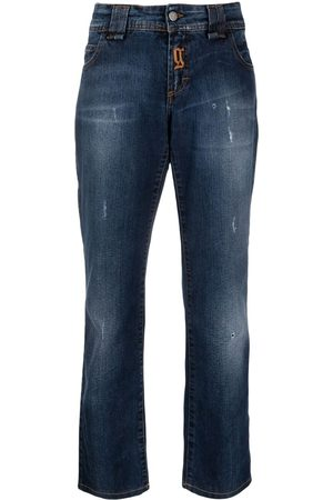 John Galliano 2000s logo-embroidered boyfriend jeans