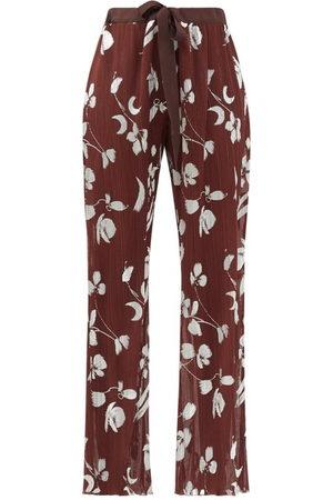 HALPERN Women Trousers - Floral-print Plissé Trousers - Womens