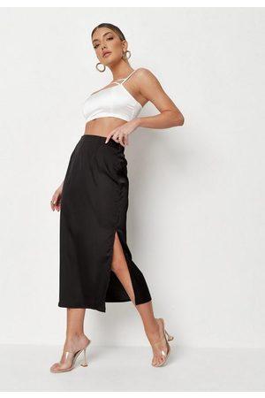 Missguided Bias Cut Satin Midi Slip Skirt