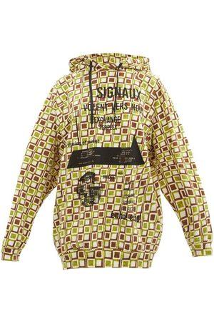 Prada Signaux Geometric-print Cotton Hooded Sweatshirt - Womens - Multi