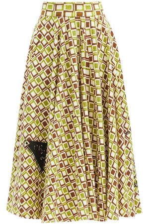 Prada Geometric-print Cotton-jersey A-line Skirt - Womens - Multi