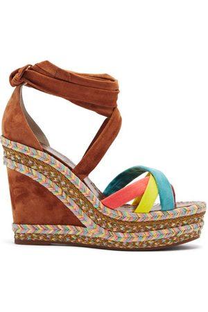 Christian Louboutin Women Sandals - Lagoadonna 120 Suede Wedge Sandals - Womens - Multi