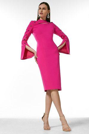 Karen Millen UK & IE Karen Millen Stud Detail Split Sleeve Pencil Dress
