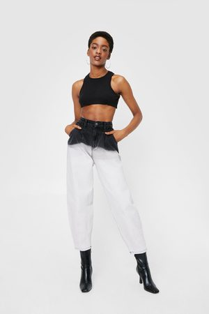 NASTY GAL Womens Two Tone Bleached Tapered Jeans