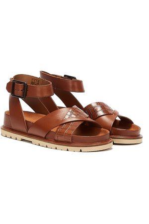 Clarks Women Sandals - Orianna Cross Combi Leather Womens Dark Tan Sandals