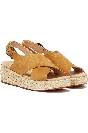 Clarks Women Sandals - Kimmei Cross Suede Womens Ochre Sandals