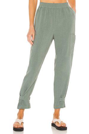 Bobi Women Trousers - BLACK Indio Linen Pant in . Size XS, S, M.