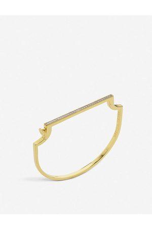 Monica Vinader Signature skinny 18ct yellow -plated vermeil and 0.35ct white-diamond bangle bracelet