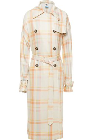M MISSONI Woman Belted Checked Stretch-knit Trench Coat Size S
