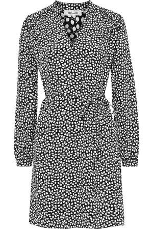 Diane von Furstenberg Women Printed Dresses - Woman Glenda Belted Printed Silk Crepe De Chine Mini Dress Midnight Size L