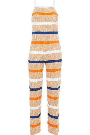 M Missoni Woman Striped Ribbed Cotton-blend Jumpsuit Size 40