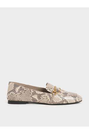 CHARLES & KEITH Snake Print Metallic Accent Loafers