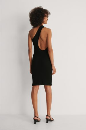 NA-KD Asymmetric One Shoulder Dress - Black