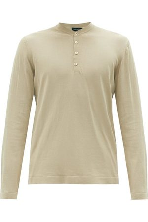 Thom Sweeney Men T-shirts - Mother-of-pearl Button Cotton Henley T-shirt - Mens