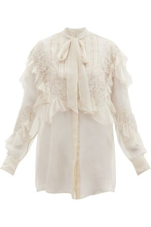 VALENTINO Pussy-bow Lace-trimmed Silk-chiffon Blouse - Womens - Cream