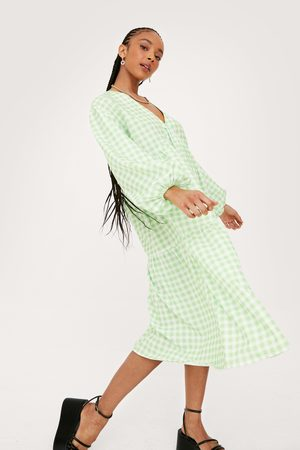 NASTY GAL Womens Gingham Print V Neck Puff Sleeve Midi Dress