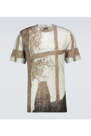 Fendi Printed short-sleeved linen T-shirt