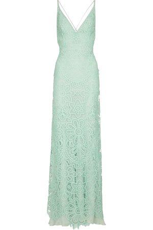 Costarellos Zanna lace and silk chiffon gown