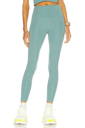 Beyond Yoga Heather Rib High Waisted Midi Legging in Mermaid Heather