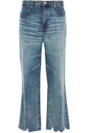 J BRAND Women Bootcut - Woman Joan Cropped Distressed High-rise Wide-leg Jeans Mid Denim Size 27