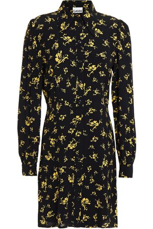 GANNI Women Printed Dresses - Woman Floral-print Crepe De Chine Mini Shirt Dress Size 36