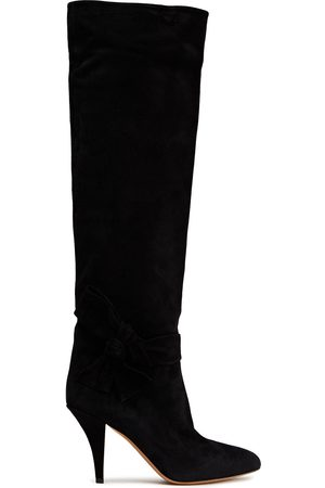 VALENTINO GARAVANI Women High Leg Boots - Woman Knotted Suede Knee Boots Size 37