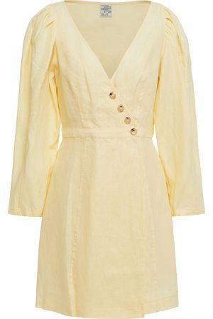 BAUM UND PFERDGARTEN Women Dresses - Woman Abrial Linen Mini Wrap Dress Pastel Size 36